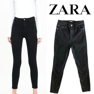 ZARA Trafaluc black denim high waist skinny US 10